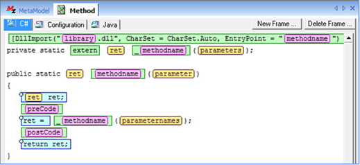Derived code pattern, frame for C#